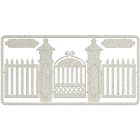 Fab Scraps - Elegant Chic Collection - Die-Cut Chipboard Embellishment - Picket Fence & Gate