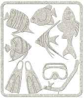 Fab Scraps - Beachcomber Collection - Chipboard Die Cuts - Scuba Gear & Fish