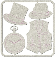 Fab Scraps - Gentlemen's Club Collection - Die-Cut Chipboard Embellishment - 2 Hats, Clock & Waistcoat