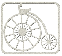 Fab Scraps - Gentlemen's Club Collection - Die-Cut Chipboard Embellishment - Penny Farthing Bicycle