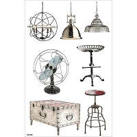 Fab Scraps - Industrial Chic Collection - Large Clear Stickers (Vintage Objects)