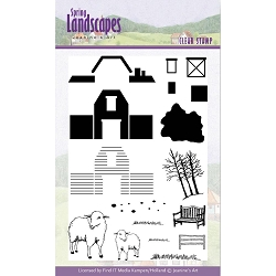 Find It Trading - Jeanine's Art Clear Stamp - Spring Landscapes Barn