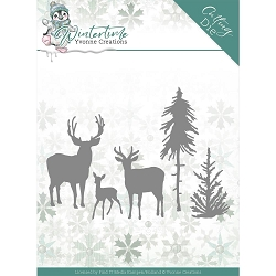 Find It Trading - Yvonne Creations Die - Wintertime Deers In The Forest