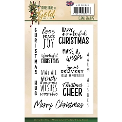 Find It Trading - Precious Marieke Clear Stamps - Christmas In Gold Sentiments