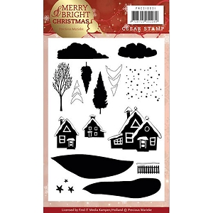 Find It Trading - Precious Marieke Clear Stamps - Merry & Bright Christmas House