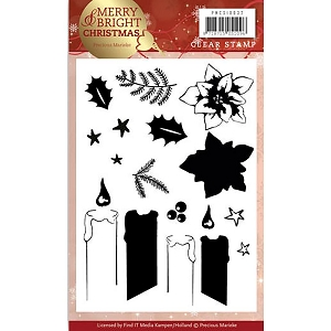 Find It Trading - Precious Marieke Clear Stamps - Merry & Bright Christmas Candle