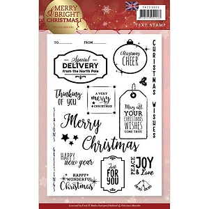 Find It Trading - Precious Marieke Clear Stamps - Merry & Bright Christmas Tags & Text