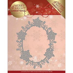 Find It Trading - Precious Marieke Die - Merry & Bright Christmas Poinsettia Oval