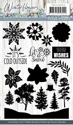 Find It Trading - Precious Marieke Clear Stamps - Winter Flowers Tags & Text