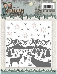 Find It Trading - Amy Design Embossing Folder with embedded dies - Christmas Wishes Winter Scene