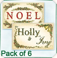 Flower Soft-Card Topper-Christmas Vintage Noel/Holly