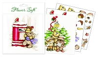 Flower Soft-Card Topper-Cute Christmas-Festive Teddies