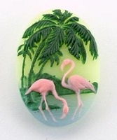 Frantic Stamper - Resin Cameos - Painted Flamingoes on Green Oval - Package of 3