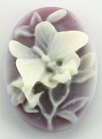 Frantic Stamper - Resin Cameos - White Butterfly on Amethyst Oval - Package of 5