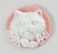 Frantic Stamper - Resin Cameos - White Cat on Pink Round - Package of 5