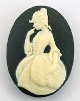 Frantic Stamper - Resin Cameos - Ivory Cortesan on Black Oval - Package of 5