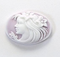 Frantic Stamper - Resin Cameos - Flowing Hair Lady on Lilac Oval - Package of 5