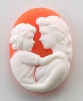 Frantic Stamper - Resin Cameos - White Mother and Child on Coral Oval - Package of 5