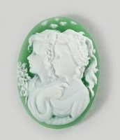 Frantic Stamper - Resin Cameos - White Twins on Green Oval - Package of 5
