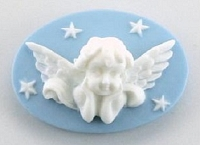 Frantic Stamper - Resin Cameos -White Cherub on Aqua Oval - Package of 5