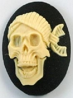 Frantic Stamper - Resin Cameos -Ivory Laugh Skull on Black Oval - Package of 5