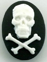 Frantic Stamper - Resin Cameos -White Skull and Crossbones on Black Oval - Package of 5