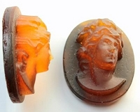 Frantic Stamper - Resin Cameos - Brown Raised Woman's Head Oval - Package of 5