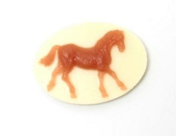 Frantic Stamper - Resin Cameos - Brown Running Horse on Beige Oval - Package of 5