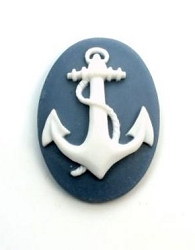 Frantic Stamper - Resin Cameos - White Anchor on Grayish Blue Oval - Package of 5