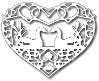Frantic Stamper Precision Die - Swans in Love Heart