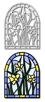 Frantic Stamper Precision Die - Daffodils Stained Glass