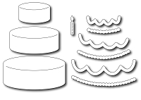 Frantic Stamper Precision Die - Tiered Cake and trimmings (set of 10 dies)
