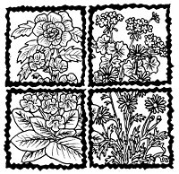 Frantic Stamper Cling-Mounted Rubber Stamp - Floral Quadrants