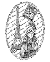 Frantic Stamper Cling-Mounted Rubber Stamp - Oval Paris Collage