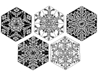 Frantic Stamper Cling-Mounted Rubber Stamp - Set of 5 Snowflakes