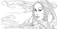 Frantic Stamper Cling-Mounted Rubber Stamp - X-Lg Flowing Hair Lady