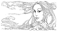 Frantic Stamper Cling-Mounted Rubber Stamp - Lg Flowing Hair Lady
