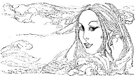 Frantic Stamper Cling-Mounted Rubber Stamp - Med Flowing Hair Lady