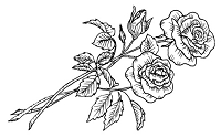 Frantic Stamper Cling-Mounted Rubber Stamp - 2 Roses & Bud