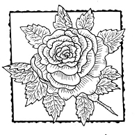 Frantic Stamper Cling-Mounted Rubber Stamp - Rose Square #1