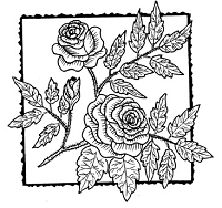 Frantic Stamper Cling-Mounted Rubber Stamp - Rose Square #2