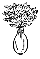 Frantic Stamper Cling-Mounted Rubber Stamp - Med Rose Vase