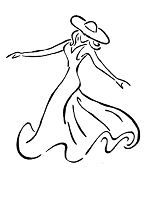 Frantic Stamper Cling-Mounted Rubber Stamp - Twirling Lady Front