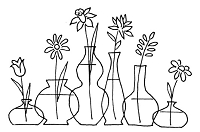 Frantic Stamper Cling-Mounted Rubber Stamp - Deco Vases