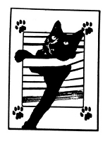 Frantic Stamper Cling-Mounted Rubber Stamp - Cat in Blinds