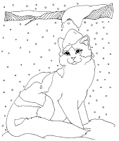 Frantic Stamper Cling-Mounted Rubber Stamp - Lg Winter Cat