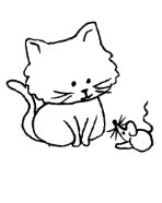Frantic Stamper Cling-Mounted Rubber Stamp - Kitten & Mouse