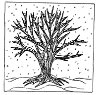 Frantic Stamper Cling-Mounted Rubber Stamp - Lg Winter Tree