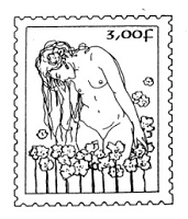 Frantic Stamper Cling-Mounted Rubber Stamp - Nude in Flowers Post