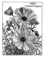 Frantic Stamper Cling-Mounted Rubber Stamp - Framed Poppies